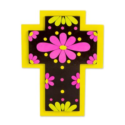 Vibrant Floral Gourd and Wood Wall Cross from El Salvador