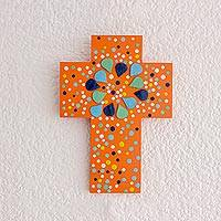 Gourd and wood wall cross, 'Abstract Petals' - Abstract Gourd and Wood Wall Cross from El Salvador