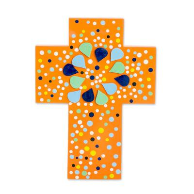 Abstract Gourd and Wood Wall Cross from El Salvador