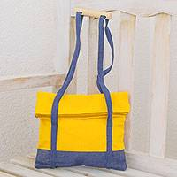 Cotton shoulder bag, 'Brilliant Sunshine' - Yellow and Blue Handwoven Cotton Fold-Over Top Shoulder Bag