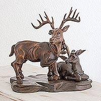 Cedar wood sculpture, 'Vigilant Deer' - Hand Carved Cedar Wood Deer Sculpture from Guatemala