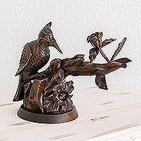 Cedar wood sculpture, 'Industrious Woodpecker' - Hand Carved Cedar Wood Bird Sculpture from Guatemala
