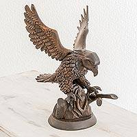 Wood sculpture, 'Mighty Talons' - Hand Carved Eagle in a Tree Brown Cedar Wood Sculpture