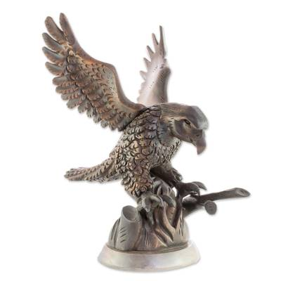 Hand Carved Eagle in a Tree Brown Cedar Wood Sculpture