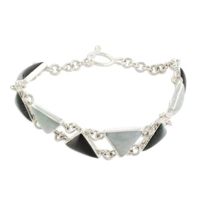 Jade link bracelet, 'Tricolor Pyramids' - Triangular Jade Link Bracelet Crafted in Guatemala