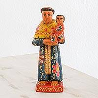 Wood statuette, 'Humble Monk' - Hand Carved Pinewood Statuette of Saint Anthony