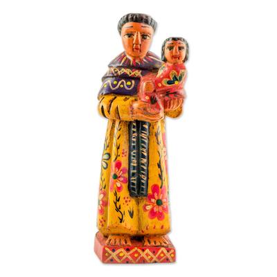 Wood statuette, 'Humble Saint Anthony' - Hand Carved Pinewood Statuette of Saint Anthony