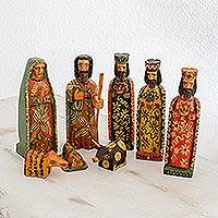 Wood nativity scene, 'Love Has Come' (set of 8) - Eight Piece Pinewood Nativity Scene from Guatemala