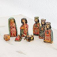 Wood nativity scene, 'Promise of Bethlehem' (set of 8) - Eight Piece Pinewood Nativity Scene from Guatemala