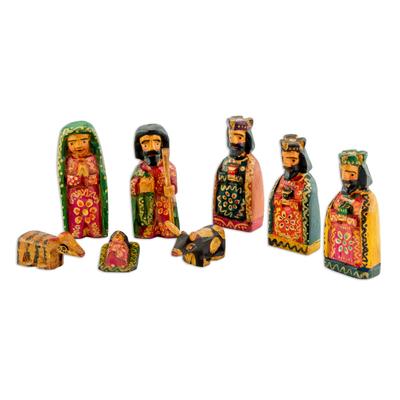 Wood nativity scene, 'Promise of Bethlehem' (set of 8) - Eight Piece Pinewood Nativity Scene from Guatemala