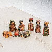 Wood nativity scene, 'Amazing Love' (set of 8) - Eight Piece Miniature Pinewood Nativity Scene from Guatemala
