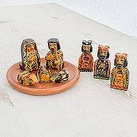 Wood nativity scene, 'Amazing King' (set of 9) - Nine-Piece Miniature Pinewood Nativity Scene from Guatemala