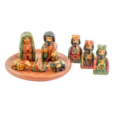 Wood nativity scene, 'Love in Bethlehem' (set of 9) - Nine Piece Miniature Pinewood Nativity Scene from Guatemala