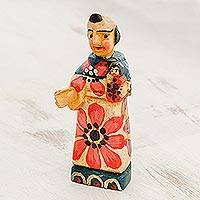 Wood figurine, 'Saint and Child' - Hand Painted Pinewood Saint Anthony Figurine from Guatemala