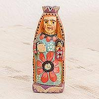 Wood figurine, 'Our Lady of Carmen' - Hand Painted Pinewood Virgin Figurine from Guatemala