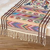 Cotton table runner, 'Sacred Quetzal' - Handwoven Guatemalan Cotton Table Runner with Quetzal Birds