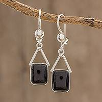 Jade dangle earrings, 'Mayan Peaks in Black' - Jade Dangle Earrings in Black from Guatemala