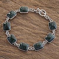 Jade link bracelet, 'Maya Delicacy' - Dark Green Jade Link Bracelet from Guatemala