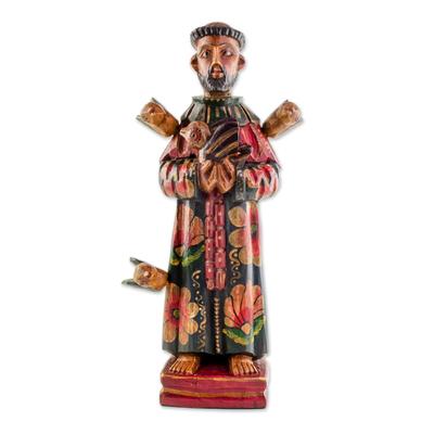 Wood sculpture, 'Beloved Saint' - Hand Painted Pinewood Saint Francis Sculpture