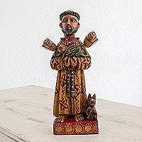 Wood statuette, 'Dedicated Saint' - Hand Painted Pinewood Saint Francis Statuette