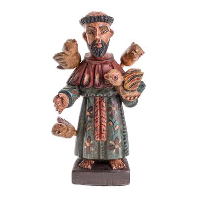 Wood statuette, 'Rustic Saint Francis' - Rustic Wood Statuette of Saint Francis from Guatemala