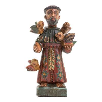 Wood statuette, 'Faithful Servant' - Hand Painted Pinewood Saint Francis Statuette