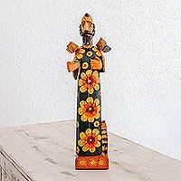 Wood sculpture, 'Reverent Saint' - Hand Painted Pinewood Sculpture of Saint Francis