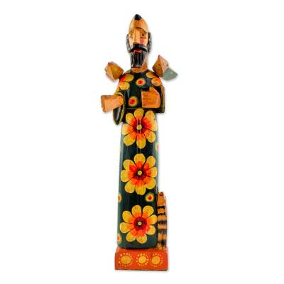 Wood sculpture, 'Reverent Saint' - Hand Painted Pinewood Sculpture of Saint Francis