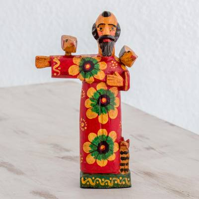 Wood statuette, 'Patron of Animals' - Pinewood Patron Saint Statuette from Guatemala