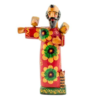 Wood statuette, 'Patron of Animals' - Pinewood Patron Saint Statuette from Guatemala