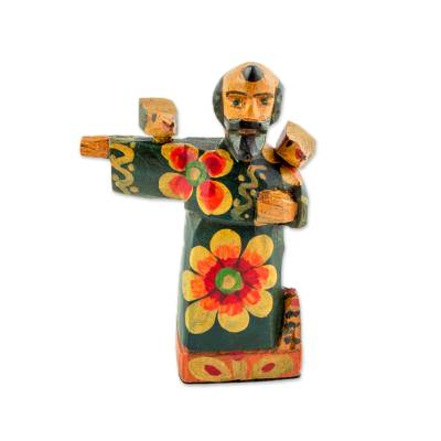 Wood figurine, 'Patron Saint of the Animals' - Hand-Painted Wood Saint Francis Figurine from Guatemala