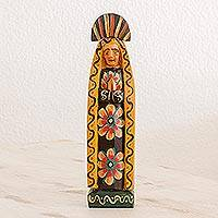 Wood statuette, 'Mary of Nazareth in Black' - Floral Pinewood Mary Statuette in Black from Guatemala