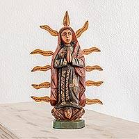 Wood statuette, 'Glowing Guadalupe'