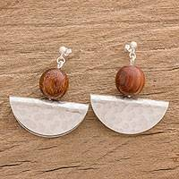 Wood and aluminum dangle earrings, 'Half Moon Glow' - Wood and Aluminum Half-Circle Dangle Earrings from Guatemala