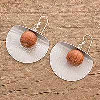 Wood and aluminum dangle earrings, 'Caressing Moons' - Wood and Aluminum Modern Dangle Earrings from Guatemala