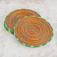 Pine needle placemats, 'Latin Dinnertime' (set of 4) - Four Pine Needle Placemats with Blue Green and Yellow Trim