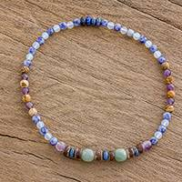 Multi-gemstone beaded stretch anklet, 'Vibrant Nature' - Multi-Gemstone Beaded Stretch Anklet from Guatemala