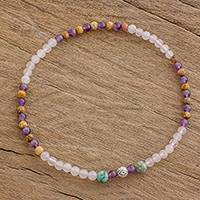 Multi-gemstone beaded stretch anklet, 'Eye of Nature' - Multi-Gem Beaded Anklet with an Eye Pendant from Guatemala
