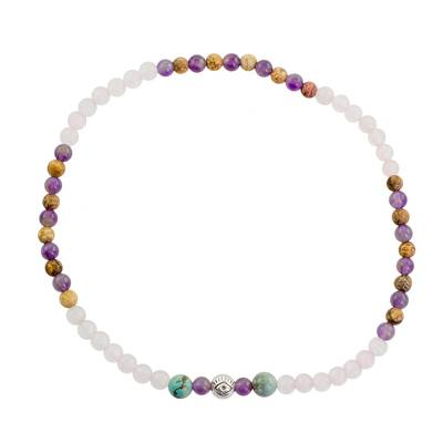 Multi-Gem Beaded Anklet with an Eye Pendant from Guatemala
