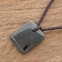 Jade pendant necklace, 'Dazzling Glory' - Green Jade Pendant Necklace with Black Cotton Cord