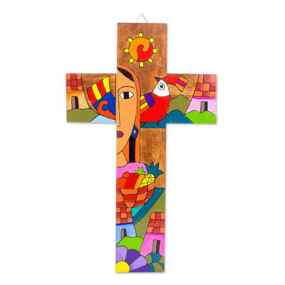 Hand-Painted Pinewood Wall Cross from El Salvador