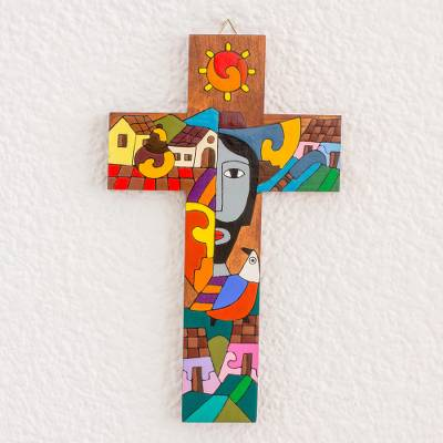 Wood wall cross, 'Possession of Two Hearts' - Handcrafted Pinewood Wall Cross from El Salvador