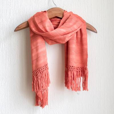 Rayon scarf, 'Sweet Appeal' - Hand Woven Peach Rayon Wrap Scarf from Guatemala