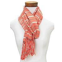 Rayon scarf, 'Sweet Surprise' - Hand Woven Red Striped Rayon Wrap Scarf from Guatemala