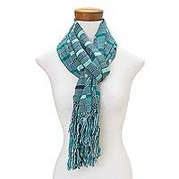 Rayon scarf, 'Sweet Ocean' - Hand Woven Striped Rayon Wrap Scarf from Guatemala