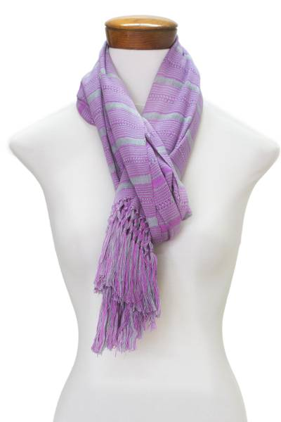 Rayon scarf, 'Sweet Dance' - Hand Woven Purple Striped Rayon Wrap Scarf from Guatemala