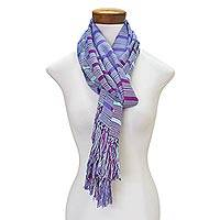 Rayon scarf, 'Sweet Allure' - Hand Woven Striped Rayon Wrap Scarf from Guatemala