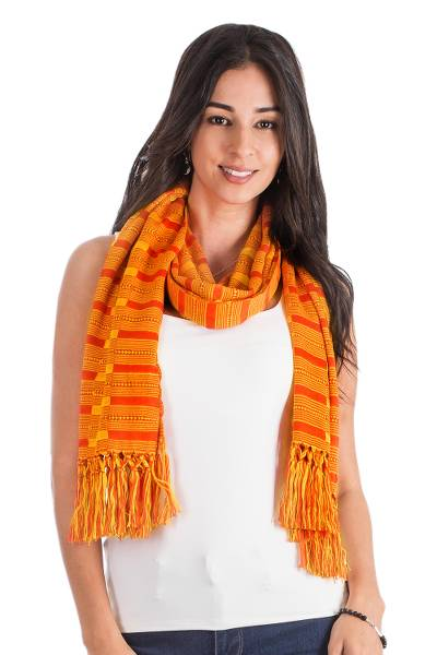Rayon scarf, 'Sweet Vibrance' - Hand Woven Striped Rayon Wrap Scarf from Guatemala