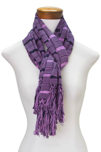 Rayon scarf, 'Sweet Radiance' - Hand Woven Purple Striped Rayon Wrap Scarf
