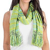 Rayon scarf, 'Sweet Morning' - Hand Woven Striped Rayon Wrap Scarf from Guatemala